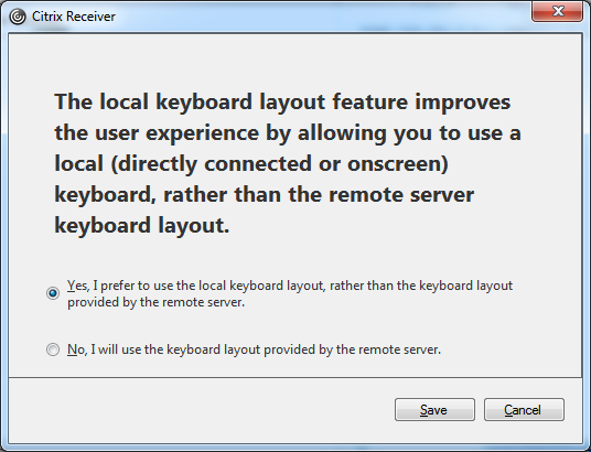 Citrix Receiver Local Keyb Layout