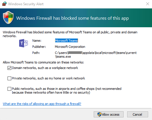 popup Windows firewall